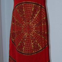 Asian Long Red Dress with Medallion Embellishment
