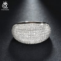 Luxury White Gold Plated Wedding Band Engagement CZ Ring Paved 196 Pieces AAA Austrian Crystal Fashion Jewelry for Women OR123
