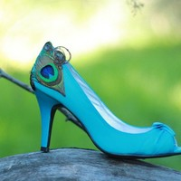 Teal and Peacock Peep Toe Satin Heels 7 1/2 by LaPlumeEthere