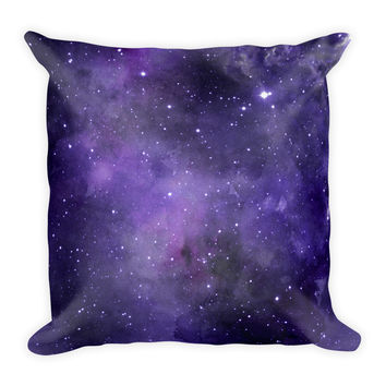 Galaxy Space Purple Stars Decorative Throw Pillow 18x18