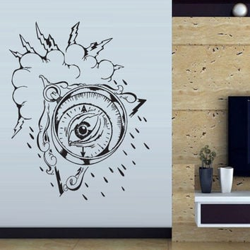 Wall decal decor decals art sticker all seeing eye annuit coeptis illuminati god compass cloud storm lightning (m771)