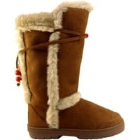 Womens Tall Faux Fur Lined Thick Sole Winter Snow Boots