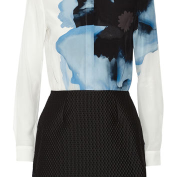 Victoria, Victoria Beckham - Printed silk crepe de chine and jacquard mini dress