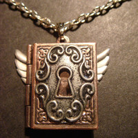 Steampunk Book Locket with Wings and Ornate Key by CreepyCreationz