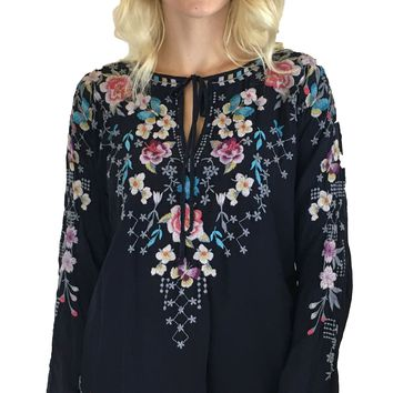 Johnny Was Butterfly Winter Blouse Stargazing