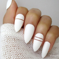 White Matte Stiletto Nails | Almond Nails | Fake Nails | Press on Nails | Negative Space
