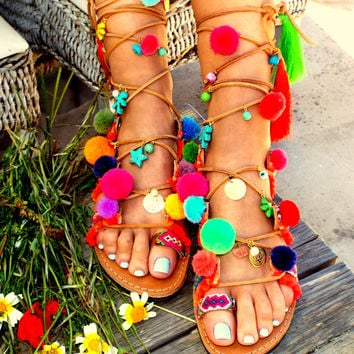 "Pom Pom Sandals, Leather Sandals, Gladiator sandals, Greek Sandals, ""Armonia"" Colorful Sandals, beaded sandals, boho"