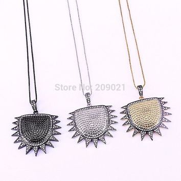 5Pcs Fashion jewelry Shield Shape Micro Pave CZ Cubic Zirconia Pendant Necklace Copper Chain Necklaces for men and women