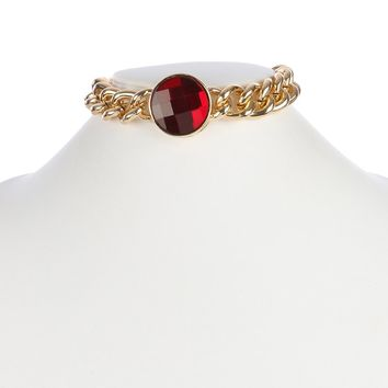 Red Faceted Glass Stone Chunky Choker Necklace