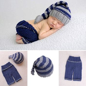 New 1Pc Newborn Baby Girls Boys Soft Crochet Knit Costume Photo Photography Prop Outfits