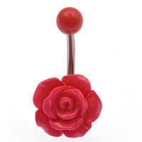 Body Jewelry - Acrylic Rose Belly Button Ring - Luscious Pink