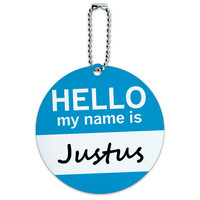 Justus Hello My Name Is Round ID Card Luggage Tag