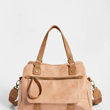 two tone distressed faux leather satchel | maurices