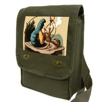 alice in wonderland - the caterpillar (khaki green) Messenger Bag / Laptop Bag