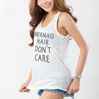 Little Mermaid Tank Top T Shirt Funny Fitness Tank Mermaid hair dont care Top Cool Hipster Tumblr Fashion Pinterest Youtube Shirt Blogger