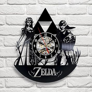 Zelda Art Vinyl Wall Clock Gift Room Modern Home Record Vintage Decoration (Size: 12 inch, Color: Black)