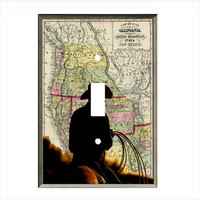 Light Switch Cover - Light Switch Plate Cowboy Vintage Western Map