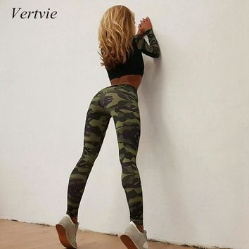 vertvie Yoga Set Camouflage Sports Pant Women Running Pant High Elastic Quick Dry Fitness Gym Pant+Crop Top Women Suit Plus Size