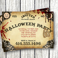 Adult Halloween Party Invitation Ouija Board Bloody scary halloween bash spooky haunted 5x7 printable invitation