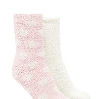 Polka Dot Fuzzy Socks - 2 Pack