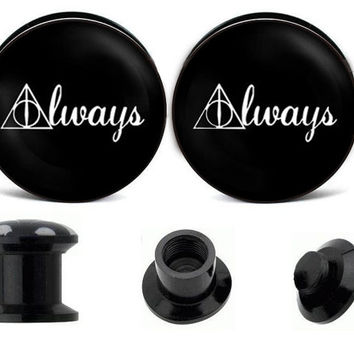Harry Potter Deathly Hollows ear plugs ,create your own ear plugs,acrylic ear plugs,wedding plugs,plugs jewelry