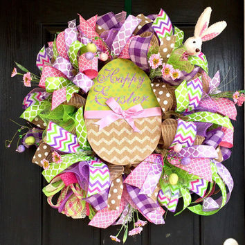 Easter wreath,Easter bunny wreath, Easter deco mesh wreath, Bunny wreath,Easter mesh wreath, Front door wreath