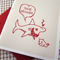Shark Love Card by monkeymindesign on Etsy