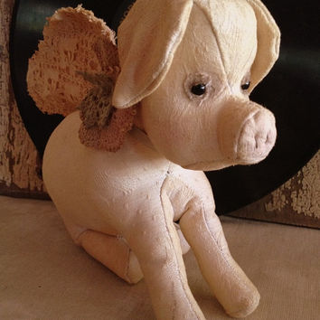 Petunia Pig: Pigs Might Fly! Vintage style, soft sculpture (pig), fabric art doll, artist bear.