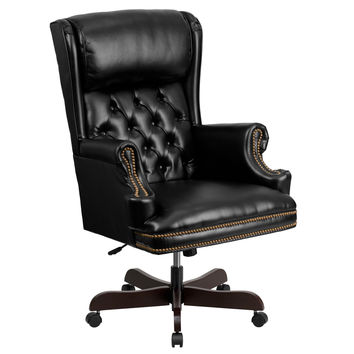 Flash Furniture High Back Traditional Tufted Black Leather Executive Swivel Office Chair [CI-J600-BK-GG]