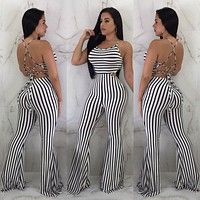New Women Clubwear Pants Summer Playsuit Bodycon Party Jumpsuit Sexy Striped Romper Trousers