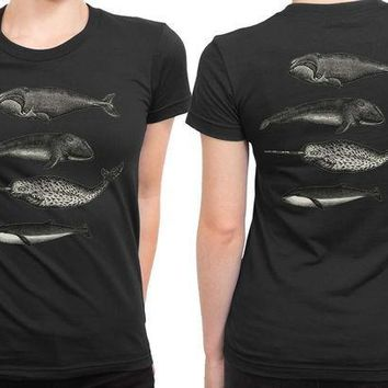 ICIK7H3 Killer Whale Graphic 2 Sided Womens T Shirt