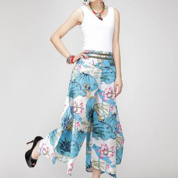 Women Retro Printing pants casual loose long pants blue pants