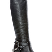 Black Faux Leather Chunky RIder Boots