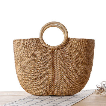 Casual Beach Bag Woven Tote Bag [6580754311]