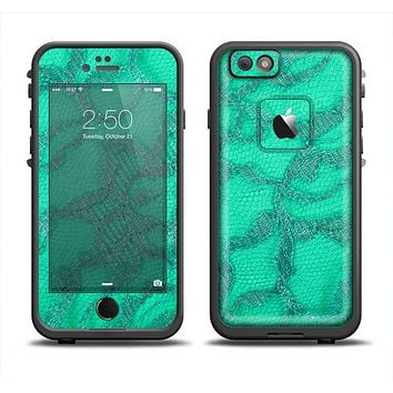 The Bright Green Textile Lace Apple iPhone 6 LifeProof Fre Case Skin Set