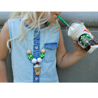 Coffee Necklace, Coffee Date, Frappe Necklace, Toddler Necklace, Girls Necklace, Gold Necklace, Bubblegum, Chunky Necklace
