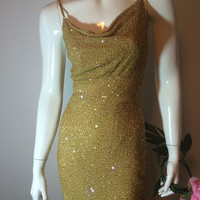 Vintage SCALA Showstopper Beaded Formal Backless Evening Gown Golden SILK Shell Prom Pageant Dress Size Small Old Hollywood Glamour 1980s