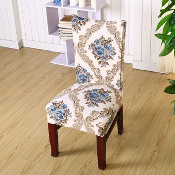 1 Pc Spandex Elastic Floral Print Pattern Removable Chair Covers Dustproof Stretch Wedding Dining Banquet Slipcover Seat Cover