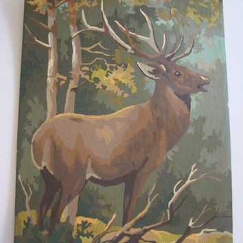 Vintage Paint by Number Deer Painting