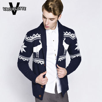 Casual Christmas Cardigan Men's Sweaters With Deer Knitted Geometric Pattern Mens Clothing Cotton Thick Chandail Homme M-2XL