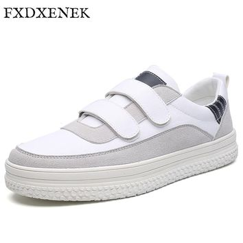 FXDXENEK 2017 New Men Casual Shoes Breathable Luxury Suede White Shoes Men Fashion Brand Designer Lace Up Flat Men's Sneakers