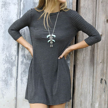 Cedar Falls Black & Gray Striped Quarter-Sleeve Ribbed Knit Swing Dress