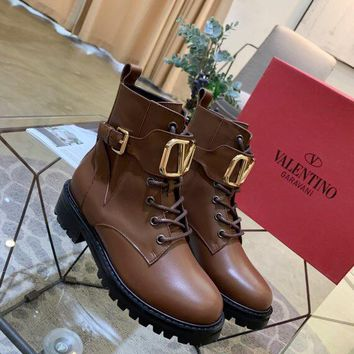 Valentino 2020 latest womens fashion leather Lace-up Western Chelsea Boot With Iconic Buckle brown Zipper Ankle boots shoes