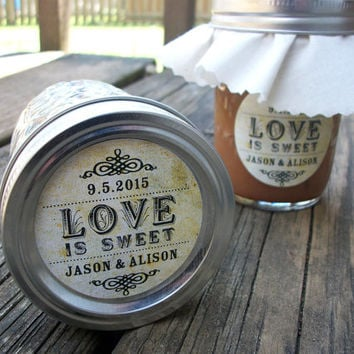 Vintage Love is Sweet Custom Canning jar labels, personalized round stickers for wedding favors, jam and jelly, 3 sizes available