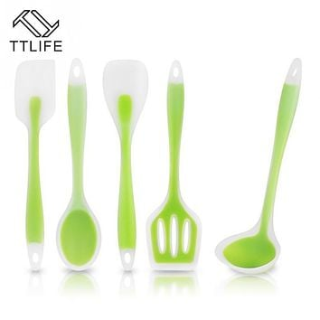 TTLIFE 5 pcs Silicon Cooking Utensil Set Spatula Spoon Soup Ladle-egg Turner Heat Resistant Cooking Tools Kicthen Cooking Set