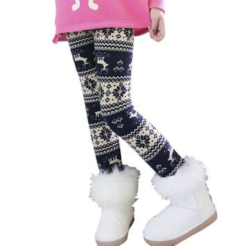 Winter Autumn Thick Warm Leggings Children Pants Clothing Cotton Print Girls Pants Children's Clothing