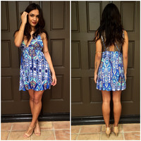 Hawaiian Breeze Summer Dress - Blue