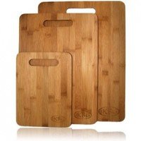 Bamboo Cutting Board Set - 3 Piece All In One Pack - Strong and Durable Hard Wood That Is Kind To Your Knives - Eco Friendly And Bio Degradable Boards - The Best Investment You Can Make For Your Kitchen - 100% Replacement Guarantee
