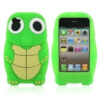 Green Turtle Designs Silicone Case for Apple iPhone 4 / 4S+ Free Screen Protector and Charge USB Cable (1871-1)
