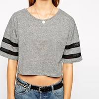 Vila Homeland Cropped Top With Striped Sleeve at asos.com